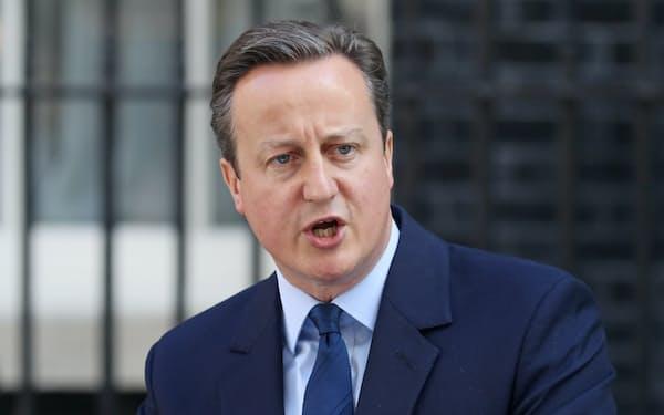 辞意を表明したキャメロン英首相(24日、ロンドン)=写真 小林健