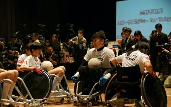 三井不動産が始めた「スポーツアカデミー」は小学生に障害者スポーツを理解する機会を与える(東京・中央の三井ホール)