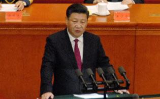 中国共産党創立95年記念式典で演説する習近平国家主席(7月1日、北京の人民大会堂)