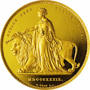 英国の古銭コインはデザインの優美さなどで人気が高い(5ポンド金貨=「ウナとライオン」)