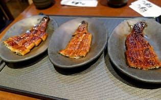 左から中国産大型ウナギ、国産の新子、国産の1年以上育てたウナギ(東京都内で購入したウナギかば焼き)