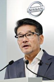決算発表する日産自動車の田川常務執行役員(27日午後、横浜市西区)