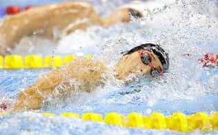 男子200メートル自由形決勝 力泳する萩野公介(8日、リオデジャネイロ)=共同
