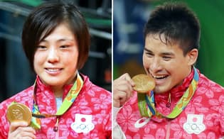 柔道男子90キロ級決勝で金メダルを獲得したベイカー(写真右)と柔道女子70キロ級決勝で金メダルを獲得した田知本=写真 玉井良幸