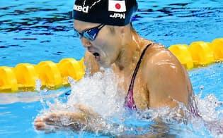 女子200メートル平泳ぎで金メダルを獲得した金藤=写真 柏原敬樹