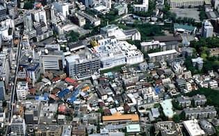 六本木ヒルズが建つ前の六本木6丁目(1996年)=森ビル提供