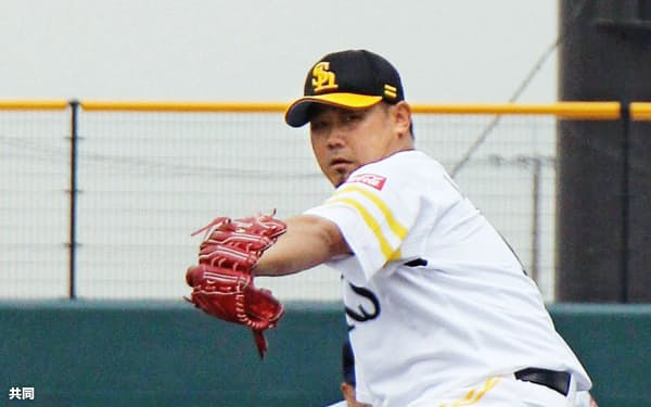四国アイランドリーグplusの香川との3軍戦で、好投したソフトバンク・松坂(28日、タマホームスタジアム筑後)=共同
