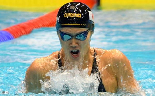 女子100メートル平泳ぎで4位の金藤理絵(30日、ベルリン)=共同