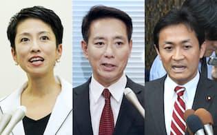 民進党代表選に立候補した(写真左から)蓮舫、前原、玉木の各氏
