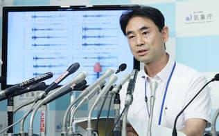 北朝鮮で観測した地震について、記者会見する気象庁地震火山部の青木・地震津波監視課長(9日午前、気象庁)