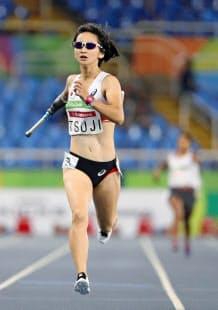 女子400メートルでの辻の力走。メダルへの強い思いが伝わった=共同
