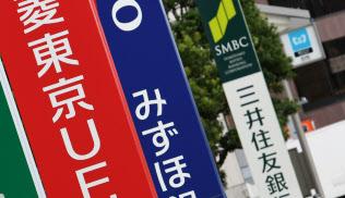 メガバンクの看板。三菱東京UFJ銀行、みずほ銀行、三井住友銀行