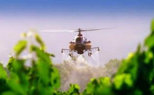 世界有数のワイン産地の米カリフォルニア州のナパ・バレーでヤマハ発は無人ヘリコプターを使った農薬散布サービスを17年に始める(ナパ・バレーでの実証実験の様子)