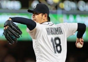 メジャー自己最多、日本人史上では5人目となる16勝を挙げた岩隈=共同