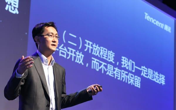 7億人超の利用者基盤の開放宣言をした騰訊の馬CEO(6月、北京市)