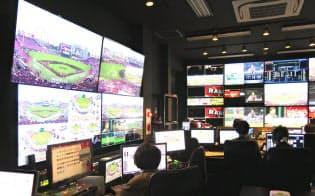 大型スクリーンなどを一括管理するコボスタ宮城のコントロールルーム