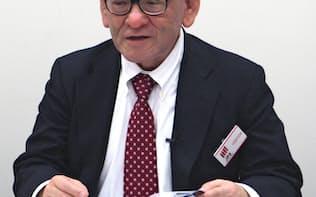記者会見するキャピタル・アセット・プランニングの北山雅一社長(7日、東証)