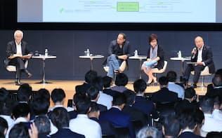 討論する(右から)谷崎勝教・SMFG取締役、ファリダ・ペランジナンジン・インドネシア中央銀行決済システム制度課長、ソプネンデュ・モハンティ・シンガポールMAS FTIG長。左はモデレーターの田中正明・PwCインターナショナルシニアグローバルアドバイザー(9月21日、東京・丸の内)