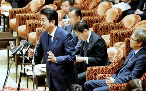 衆院TPP特別委で答弁する安倍首相(17日午後)