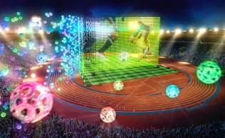 マイクロアドのドローンを使った広告のイメージ図。集合して大型ディスプレイとなるほか、製品や企業ロゴなど自由な形のイルミネーションをつくる