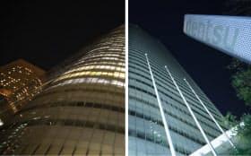 午後10時過ぎに消灯した電通本社ビル(右)。左は消灯前のビル(24日、東京都港区)