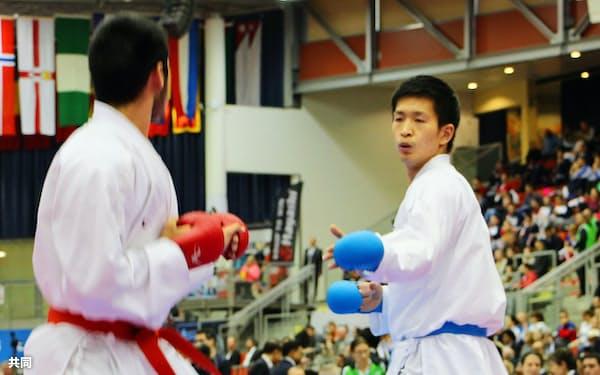組手男子84キロ級で決勝に進出した荒賀龍太郎(26日、リンツ)=共同