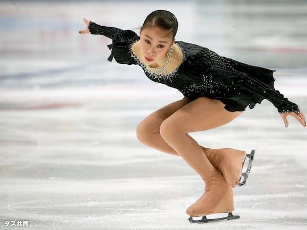 女子SPで7位につけた松田悠良(4日、モスクワ)=タス共同