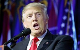 米大統領選で勝利宣言する共和党のトランプ氏(9日、ニューヨーク)=AP