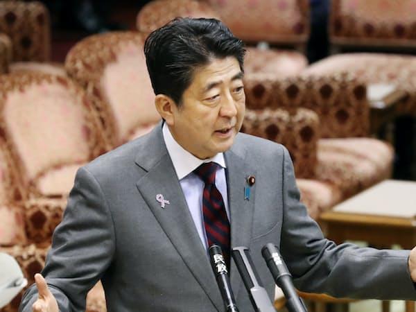 参院TPP特別委で答弁する安倍首相(14日午前)