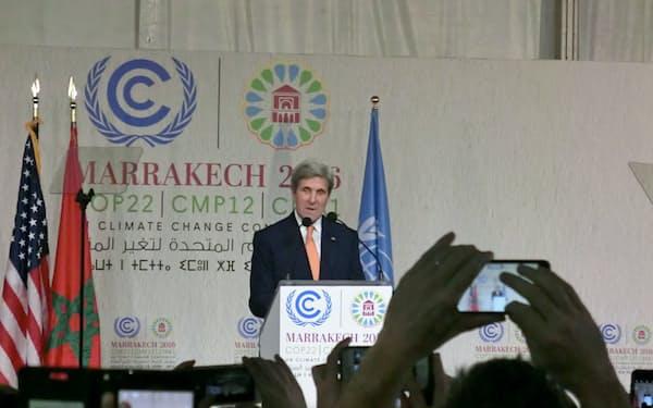 ケリー米国務長官の演説会場は熱気に包まれた