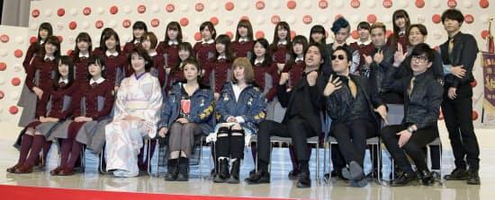 第67回紅白歌合戦に初出場が決まったグループや歌手(24日、東京・渋谷のNHK放送センター)=共同