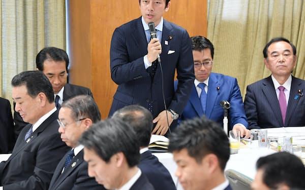農林関係合同会議であいさつする小泉進次郎・農林部会長(11月25日、自民党本部)