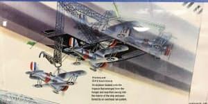 上部の飛行船に小型戦闘機を格納する仕組み図。NASAモフェットフィールド歴史協会博物館の資料より