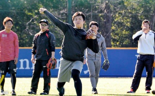 母校での練習でノックを受ける田中正義投手=中央(3日、東京都八王子市)=共同