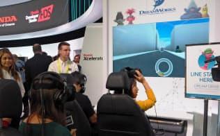 ホンダは米ドリームワークスと協力し、VRを使った車内の楽しみ方を提案(5日、米ラスベガス)