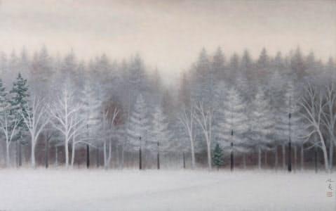 冬景色の中にも、やがて来る春を思わせる東山魁夷の「清晨」