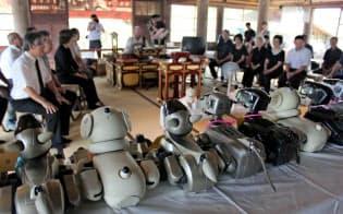 「献体」されたイヌ型ロボットAIBOの葬儀が営まれた(千葉県いすみ市の光福寺で)