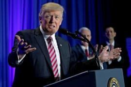 26日、共和党の集会に出席したトランプ米大統領(フィラデルフィア)=ロイター