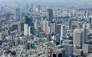 上空から空撮した都心のビル群