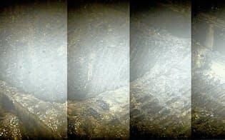 原子炉直下の足場となる格子に1メートル四方の穴が開いていた(東京電力提供)