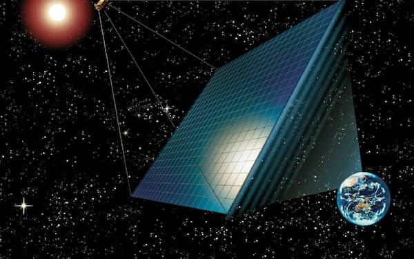 既存のビジネスモデルを一変できる技術が多い(宇宙太陽光発電のイメージ図、宇宙システム開発利用推進機構提供)
