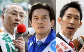 東京都千代田区長選に立候補した(写真左から)石川雅己、五十嵐朝青、与謝野信の各氏