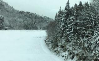 降雪が続く米原付近(車窓から、筆者撮影)