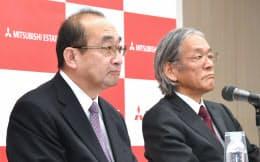 社長就任が決まり会見する吉田新社長(左)と杉山新会長(16日午後、東京・丸の内)