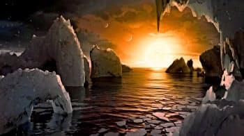 地表に海が存在する惑星の想像図(NASA・カリフォルニア工科大提供)