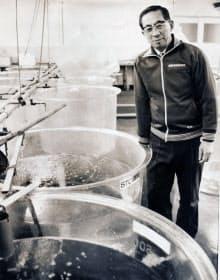 稚魚が入った水槽の傍らに立つ原田・水産研第2代所長=近畿大学提供