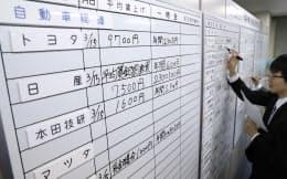 労使交渉の回答状況をボードに書き込む金属労協の職員(15日午後、東京都中央区)