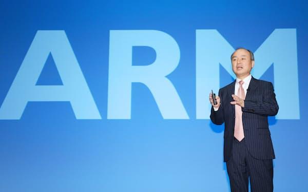 ソフトバンクグループの孫正義会長兼社長は、英アームを手放すことに合意した(写真は2017年2月、東京都中央区)