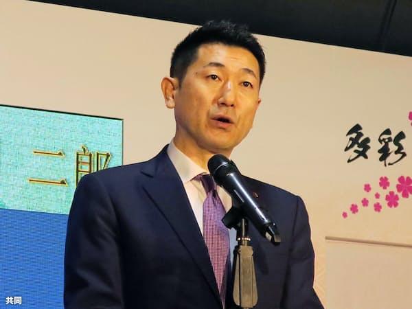 台北市内で開かれた日本関係のイベントであいさつする赤間二郎総務副大臣(共同)