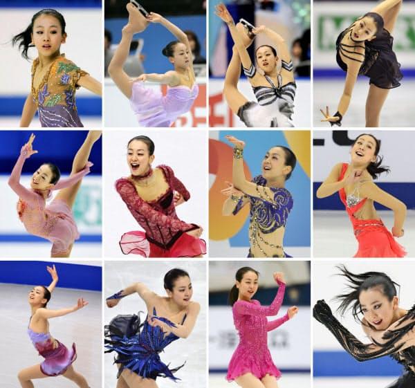 浅田真央の演技。(左上から右下へ)2005年、06年、07年、08年、09年、10年、11年、12年、13年、14年、15年、16年=共同